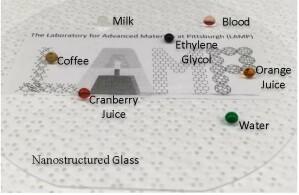 Das nanostrukturierte, transparente Material lässt verschiedenste Flüssigkeiten abperlen.