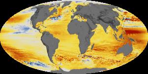 Globale Veränderung des Meeresspiegels zwischen 1994 und 2014 – Rottöne zeigen einen Anstieg, Blautöne eine Absenkung um jeweils bis zu sieben Zentimeter.